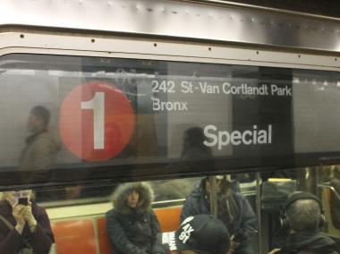 1 train service was suspended at West 157th Street after a person got on the tracks Monday afternoon.