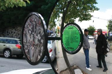 "One of the world's busiest boulevards may soon offer space for reflection, outfitted with circular mirrors, colorful placards and painted plazas offering windows into how the nation's most populous city consumes wind, water, energy and other natural resources.   The art installation ""1000 Steps,"" designed by Mary Miss in collaboration with City as Living Laboratory, will install  20 ""hubs"" along the 14-mile length of Broadway, from 240th St. Van Cortlandt Park in The Bronx to Bowling Green in Lower Manhattan, geared toward making Broadway ""the new 'green corridor' in New York City."""