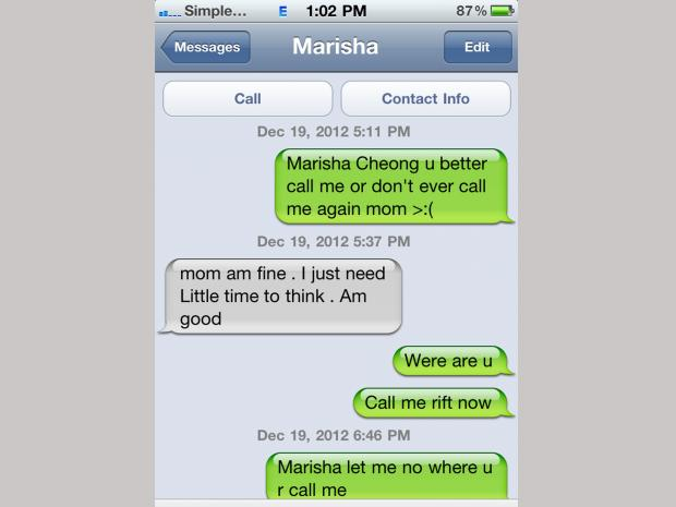 The final text messages between Marisha Cheong, 24, whose badly decomposed body washed up in Breezy Point Feb. 17, 2013, two months after going missing.