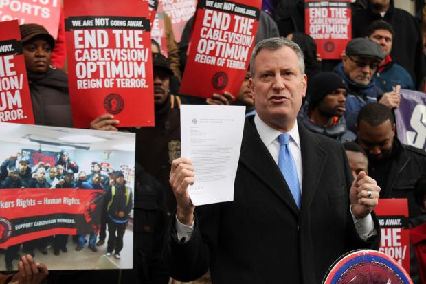 Members of the Commuications Workers of America labor union called on the City Council's Subcommittee on Zoning and Franchises to hold Cablevision accountable for alleged labor violations.