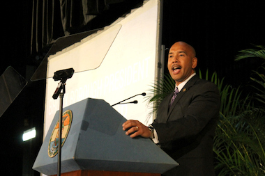Bronx Borough President Ruben Diaz Jr., shown here giving his fourth State of the Borough address, came out in support of same-sex marraiage on March 27, 2013, unlike his namesake father..