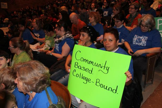Hundreds of parents from Central Park East and East Harlem Scholars Academy packed into an auditorium at the Jackie Robinson educational complex Wednesday night to tell the Department of Education why they deserved space at the school.