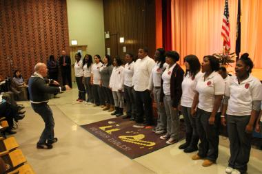 Members of the Choir Academy of Harlem's student choir performed at a Panel for Educational Policy Hearing on Thursday, Feb. 21, 2013. The panel discussed phasing out the school.