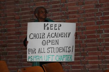 Parents, students and teachers at the Choir Academy of Harlem told the Department of Education Thursday night that it is unfair to phase the school out because they never received the support to recover from a scandal that rocked the school which once housed the famed Boys Choir of Harlem.