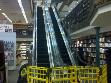 The escalator at the Barnes & Noble on 82nd Street and Broadway was shut down Feb. 22, 2013 after a young child got a hand caught.