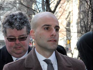 Brookyn ADA Michael Jaccarino, 30, was sentenced to 10 days community servcie in Manhattan Criminal Court after pleading guilty to assaulting EMT Theresa Soler, Feb. 13, 2013.