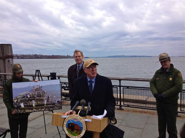 Ken Salazar vists storm-shuttered Liberty and Ellis Island