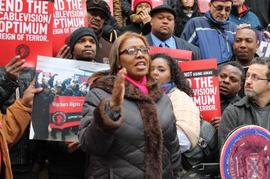 Councilwoman Letitia James urged the City Council to hold Cablevision accountable for alleged labor violations Tuesday, Feb. 26, 2013. 'This is about job security. This is about respecting the right to organize,' she said. 'We give tax breaks to his company. All we're asking for is to respect the right to organize.'