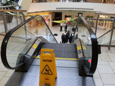 A man was seriously injured after falling at the Queens Center Mall Wednesday afternoon, Feb. 27, 2013.