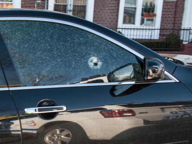CROWN HEIGHTS -  A man and woman were shot while inside a black  Infinity M35x on President Street near Utica Avenue in Brooklyn. A bullet hole can be seen in the glass of the front right passenger door. The man was declared dead at the scene while the woman was transported to hospital in unknown condition.