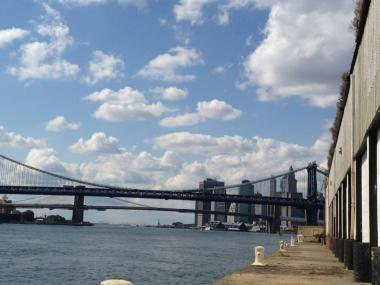 The view from Pier 42 toward the Manhattan and Brooklyn bridges.
