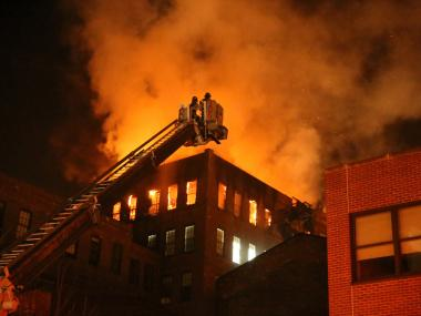 A fire tore through the top one of the Pratt Institute's Brooklyn campus buildings early Friday Feb. 15, 2013.