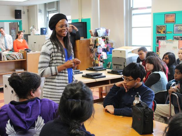 Pretty Yende, a 27-year-old soprano, visits students from Robert van Wyck Junior High School.