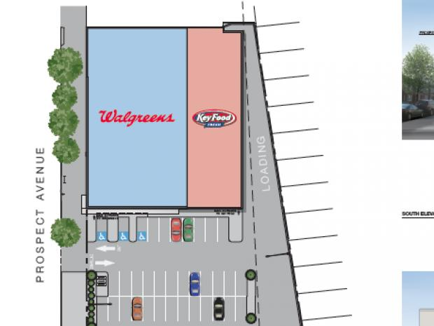 Key Food and Walgreens say they'll open side-by-side stores on Prospect Avenue and 11th Avenue in July or August of 2013.