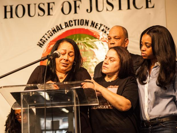 On Feb. 16, 2013, the family of Noel Polanco, the National Guardsman who was shot by a member of the NYPD, rallies to demand justice in his death.