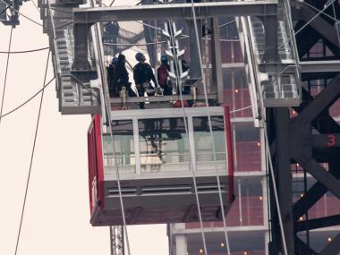 An unidentified worker was trapped while working atop Roosevelt Tower which operates the Roosevelt Island Tram on Tuesday Feb. 5, 2013.