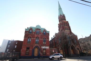 St. Mark's Evangelical Lutheran Church, 628 Bushwick Ave.  is being gutted and turned into market rate apartments.