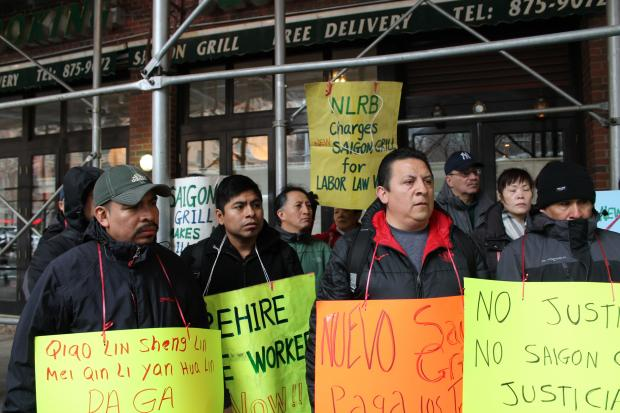 Saigon Grill owners have violated labor laws, in addition to owing workers backpay, organizers said.