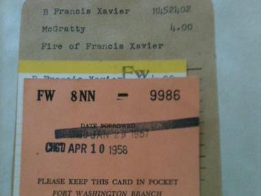 "The Fort Washington Library's copy of ""Fire of Francis Xavier"" had been checked out for nearly 55 years."