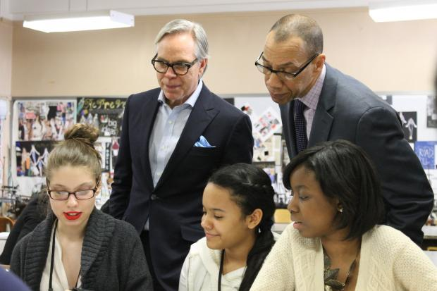 The designer came to the High School of Fashion Industries to give students advice and see their work.