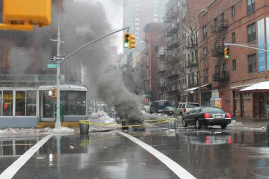 A manhole fire broke out on Second Avenue on the Upper East Side on Feb. 11, 2013.
