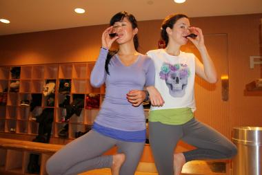 Wine expert   Stefani Jackenthal hosts tastings after yoga classes as a way to extend post-class zen.