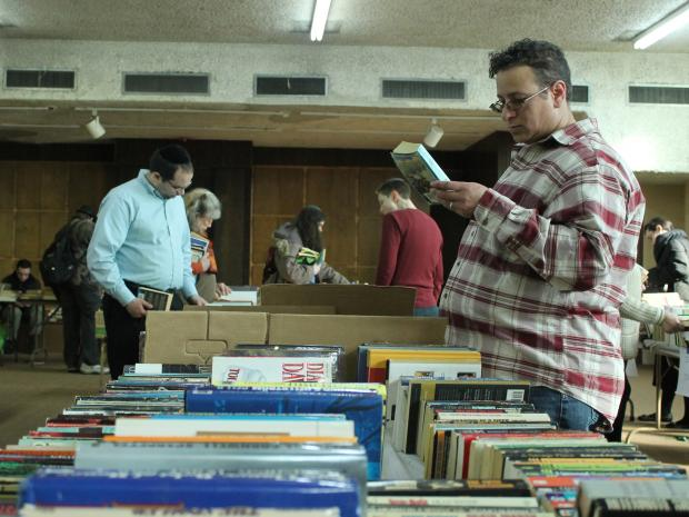 Members of five congregations donated thousands of books for the book sale, held Sunday afternoon.