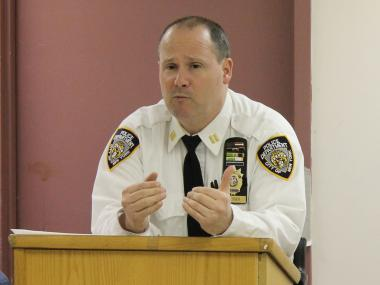Capt. Henry Sautner of the 102nd Precinct at a recent community council meeting.