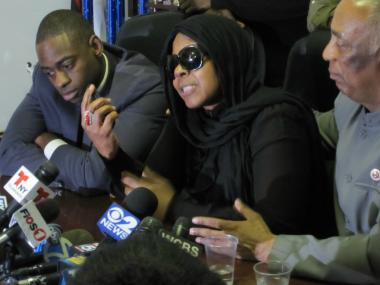 Carol Gray, mother of slain teen Kimani Gray, addresses reporters at City Councilman Charles Barron's offices in East New York on March 14, 2013.