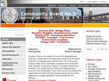 Community Board 2's website has not been updated in two years.