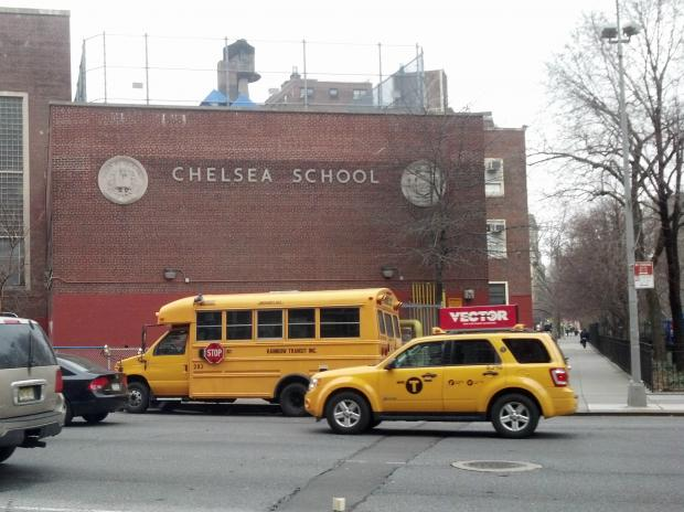 The man jumped from 290 Ninth Ave., across the street from P.S. 33, Chelsea Prep School, witnesses said.