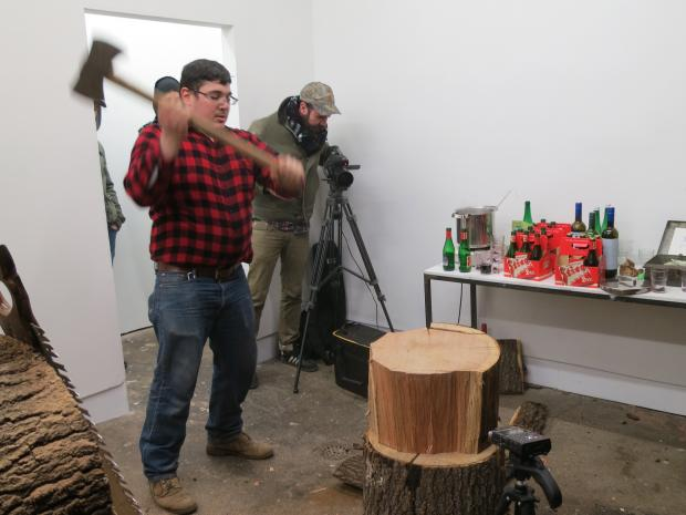 Brooklyn artist David D'Ostilio is sawing logs and making firewood at a South Slope gallery.
