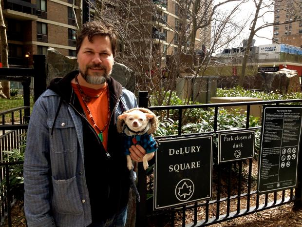 Fed up with dogs 'pooping and peeing' on the greenery, locals want pooches banned from DeLury Square Park.