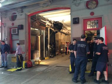 Engine 65's firehouse on West 43rd Street, where a fire broke out March 12, 2013.