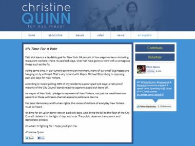 A fake Quinn website announcing a vote on paid sick leave appeared on Tuesday.