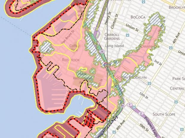 FEMA Shows Expanded FloodRisk Zones For Red Hook And Gowanus Red - Current fema flood maps