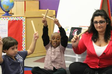Students learn about rhythm at a city-funded preschool on the West Side.