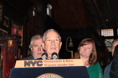 Mayor Michael Bloomberg celebrated the 10-year anniversary of the city's ban on smoking in bars and restaurants on March 27, 2013 near Union Square at the Old Town Bar.