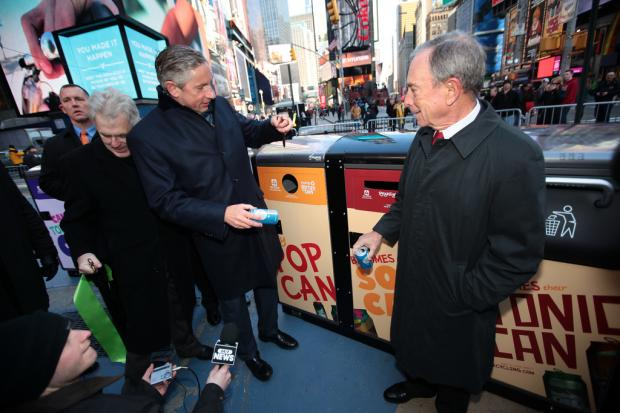 Thirty solar-powered recycling stations have been installed throughout Times Square, the Times Square Alliance announced Friday morning, March 15, 2013, making the Crossroads of the World the home of the city's largest public-space recycling initiative.