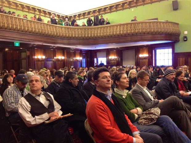 Hundreds filled a city council hearing for a chance to weigh in on the Pier 17 proposal on Thursday, March 14th.