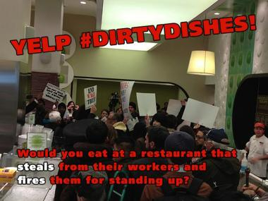 Dozens of protesters stormed Dishes restaurant in Midtown Wednesday, March 13, 2013, a new lawsuit alleges. 99 Pickets, an Occupy-affiliated group that claimed responsibility for organizing the demonstration, said it was protesting unfair labor practices at Dishes. The group posted this image to its Facebook page, urging supporters to post negative reviews of the restaurant to Yelp.