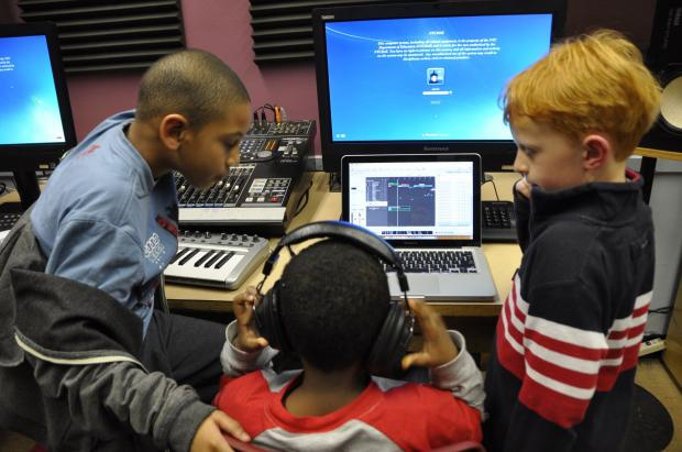 The recording studio at The Pacific School where Hassan Salaam teaches an after-school music production class.