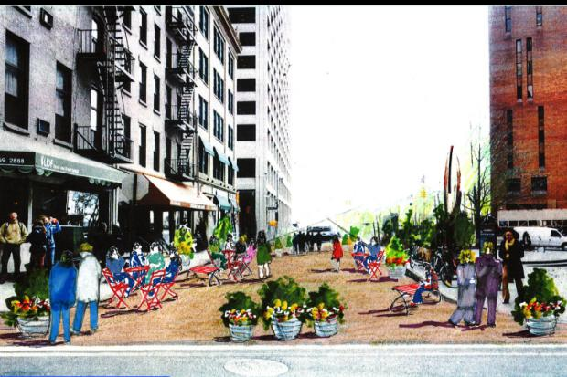 New downtown pedestrian areas, improved street crossings are slated to be ready by Labor Day.