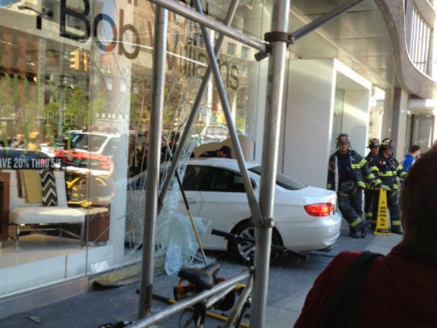A car plowed through a glassplate window at highend retailer Mitchell Gold + Bob Williams.