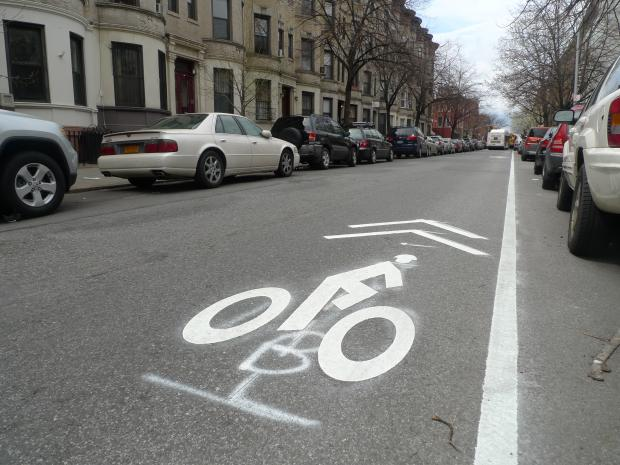 New bike lanes were painted onto 14th and 15th streets in the South Slope.