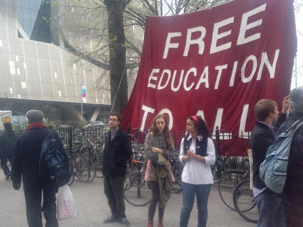 Students protested a plan by Cooper Union to start charging $20,000 a year in tution starting in 2014, April 23, 2013.