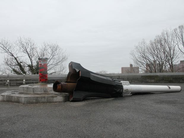 The historic, 77-year-old flagpole was toppled over by Fort Tryon Park.