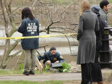 A fictional victim was pulled from the water near the park's nature center Tuesday.