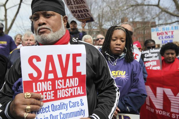 Supporters gathered at Coffey Park and marched to Long Island College Hospital, April 7, 2013.
