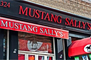 "Pre-game hotspot Mustang Sally's on Seventh Avenue was shut down by the city's Department of Health on Tuesday, April 23, 2013, for a host of alleged violations, including ""evidence of mice"" and ""live roaches,"" the department's website shows."